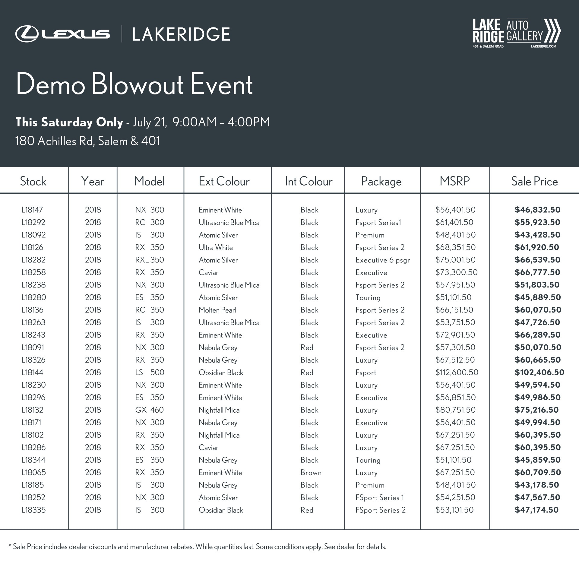 Lexus Demo List
